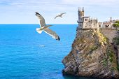 Castle Of Swallows Nest At The Black Sea Coast, Crimea, Russia poster