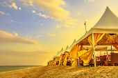 Luxurious Tents At Desert Beach Camp, Inland Sea, Khor Al Udaid In Persian Gulf, Southern Qatar. Sce poster