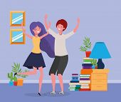 Young Couple Dancing In The Livingroom Vector Illustration Design poster