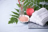 Side View Of Home Wellness Spa Products, Aroma Bath Salt, Aroma Stick, Cotton Towels. Relax Mindfuln poster