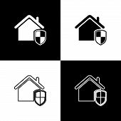 Set House Under Protection Icon Isolated Icons Isolated On Black And White Background. Home And Shie poster