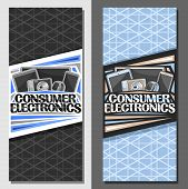 Vector Layouts For Consumer Electronics, Brochure With Illustration Of Set Black Electronic Web Item poster