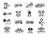 Keys Logotype. Real Estate Badges Door And Gate Access Symbols Silhouettes Of Ornate And Modern Stee poster