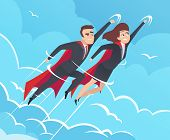 Business Superheroes Background. Male In Action Poses Powerful Teamwork Heroes Flying In Sky Vector  poster