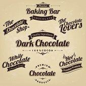 stock photo of bittersweet  - Premium Retro Chocolate Vintage Label Set   - JPG