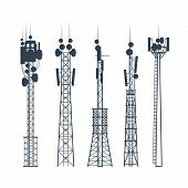 Transmission Cellular Towers, Satellite Communication Antenna Silhouette, Of Radio Signal Tower poster