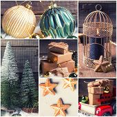 Boxes With Presents, Black Burning Candle,  Green And Golden Baubles,  Decorative Cage, Golden Stars poster