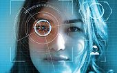 Futuristic And Technological Scanning Of The Face Of Beautiful Woman For Facial Recognition And Scan poster