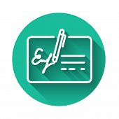 White Signed Document Line Icon Isolated With Long Shadow. Pen Signing A Contract With Signature. Ed poster