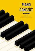Piano Concert And Music Festival Poster Modern Vintage Retro Style. Graphic Design Template Can Be U poster