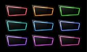 Neon Light Banners Set On Black Background. Led Lamp Shining Electric Frame. Colorful Rectangle Sign poster