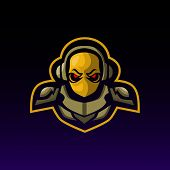 Army Gaming Mascot. Army Esports Logo Design. Vector Illustration In Modern Style poster