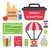Donate Money Box Set Symbols Help Philanthropy Donation Contribution Charity Philanthropy Humanity S poster