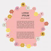 Floral Frame With Space For Text On Textured Pink Background poster