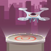 Business Drone With Action Camera Created Video And Photo. Photography-copter, Quadcopter, Multicopt poster