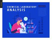 Medical Tests Blue Template -chemical Laboratory Analysis - Modern Flat Vector Concept Digital Illus poster