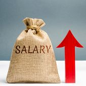 A Bag With Money And The Inscription Salary And Up Arrow. Increase Of Salary, Wage Rates. Promotion, poster
