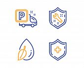 Spanner, Water Drop And Truck Parking Icons Simple Set. Medical Shield Sign. Repair Service, Mint Le poster
