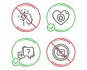 Do Or Stop. Heart, Brainstorming And Question Mark Icons Simple Set. Stop Talking Sign. Star Rating, poster