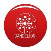 Faded Dandelion Logo Icon. Simple Illustration Of Faded Dandelion Icon For Any Design Red poster