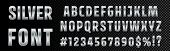 Silver Font Numbers And Letters Alphabet Typography. Vector Chrome Metallic Silver Font Type, 3d Met poster