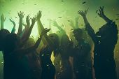 Close Up Photo Of Many Party People Dancing Clubbing Green Lights Confetti Flying Everywhere Nightcl poster