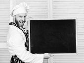 Training Professional Chefs. Man Holding Empty Blackboard. Master Cook Giving Cooking Class. Chief C poster