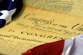 stock photo of preamble  - Preamble to the Constitution of the United States and American Flag - JPG
