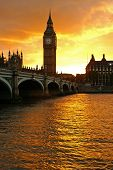 foto of big-ben  - big ben in london at sunset - JPG