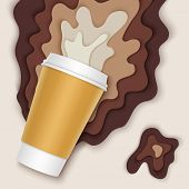 Coffee Cup With Papercut Coffee Splashes And Shadows. Spilled Coffee. Disposable Takeaway Paper Coff poster