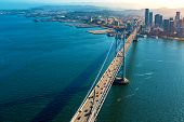 Aerial View Of The Bay Bridge In San Francisco, Ca poster