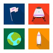 Isolated Object Of Mars And Space Sign. Collection Of Mars And Planet Stock Bitmap Illustration. poster