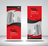 Red Roll Up Banner Template Vector, Banner, Stand, Exhibition Design, Advertisement, Pull Up, X-bann poster