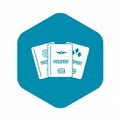 Passports Icon. Simple Illustration Of Passports Vector Icon For Web poster