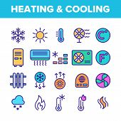 Color Heating And Cooling System Vector Linear Icons Set. Heating And Cooling Air Conditioning Outli poster