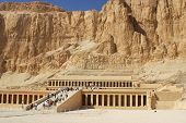 image of mortuary  - Mortuary Temple of Queen Hatshepsut is located beneath the cliffs at Deir el Bahari on the west bank of the Nile near the Valley of the Kings in Egypt - JPG