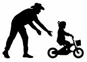 Father Teaches Daughter To Ride Bicycle Silhouette. Teaching A Child To Ride Bike Without Stabiliser poster