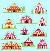 Circus Tent Facade Marquee Marquee Stripes Flags Carnival Entertainment Balloons Lelements Flat Illu poster