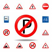 No Parking Icon. Set Of Road Signs Icon For Mobile Concept And Web Apps. Colored No Parking Icon Can poster