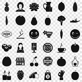 Vegetarian Shop Icons Set. Simple Style Of 36 Vegetarian Shop Icons For Web For Any Design poster