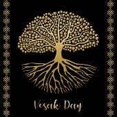 Happy Vesak Day Card Illustration. Gold Bodhi Tree With Roots And Leaves For Buddha Birth Celebratio poster