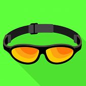 Rafting Goggles Icon. Flat Illustration Of Rafting Goggles Icon For Web Design poster
