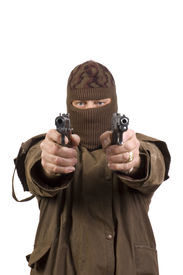 stock photo of shooting-range  - Masked man with two semi - JPG