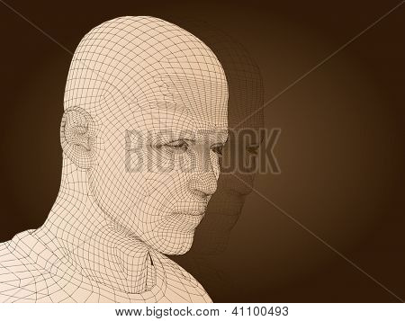 3D man or human man or male head made of beige wireframe or mesh isolated on brown background