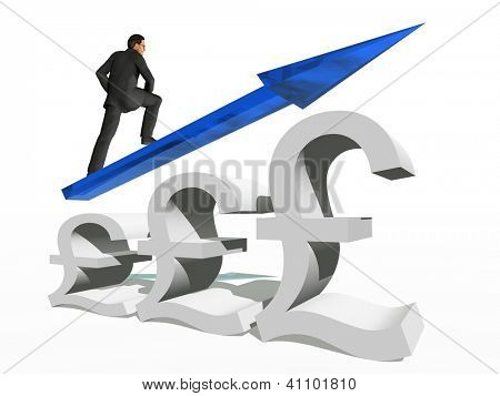 Conceptual 3D human,man or businessman standing over an British pound symbol with an arrow isolated on white background