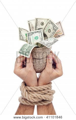 Prisoner Of Profit - Man Holding Bag Of Money