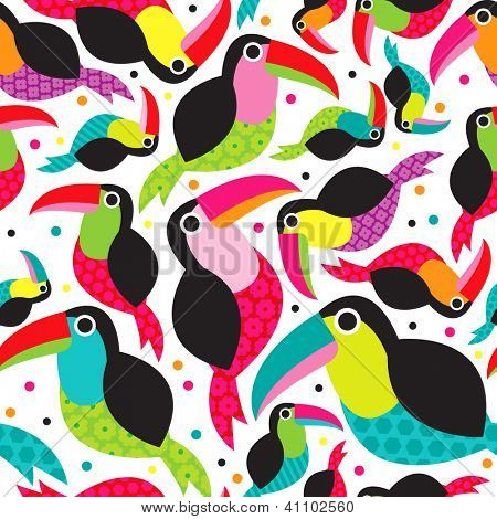 Seamless exotic brazil toucan bird background pattern in vector