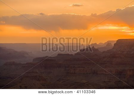 Sunset At Grand Canyon Seen From Desert View Point, South Rim