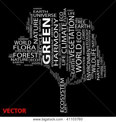Vector eps concept or conceptual white text wordcloud or tagcloud as tree isolated on white background