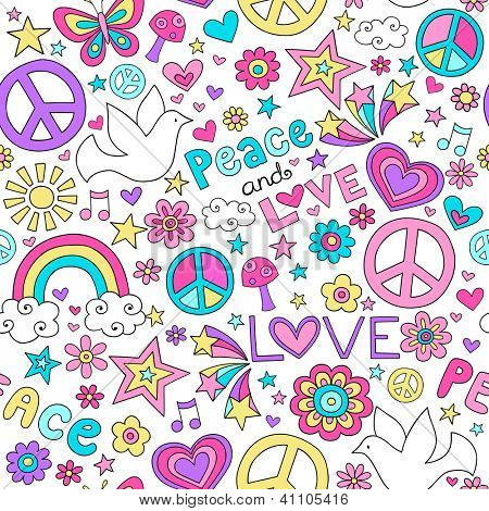 Peace, Love, and Doves Seamless Pattern Groovy Notebook Doodle Design- Hand-Drawn Illustration Background